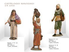 PASTORAS Nº15 y Nº14, PASTOR Nº13. Figuras de belén/pesebre, de terracota policromada, de 14 cm. Autor José Luis Mayo Lebrija.