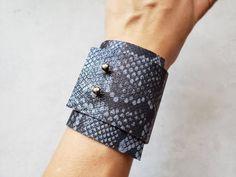 Soft gray blue snake skin leather bracelet animal print wide | Etsy