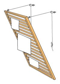 Mounted with hinges at the bottom and a simple pulley system at the top it could serve as a drying rack in the laundry room. Mounted with hinges at the bottom and a simple pulley system at the top it could serve as a drying rack in the laundry room. Laundry Rack, Laundry Drying, Laundry Closet, Small Laundry, Laundry Cupboard, Laundry Room Design, Laundry Rooms, Mud Rooms, Home Organization