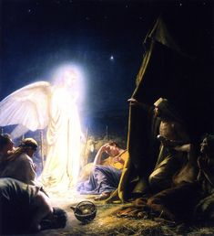 Giclee Print: Angel and the Shepherds Art Print by Carl Bloch by Carl Bloch : Lds Art, O Holy Night, The Shepherd, Christian Art, Flocking, Find Art, Framed Artwork, Giclee Print, Museum