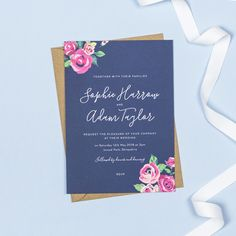 Adela Navy And Pink Floral Wedding Invitations by Project Pretty, the perfect gift for Explore more unique gifts in our curated marketplace. Floral Wedding Stationery, Unique Wedding Invitations, Personalized Invitations, Invites, Kraft Envelopes, White Envelopes, Envelope Liners, Vintage Roses, Rsvp