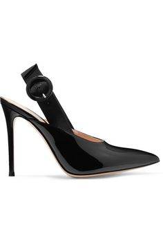 Heel measures approximately 100mm/ 4 inches Black patent-leather  Buckle-fastening slingback strap Made in ItalySmall to size. See Size & Fit notes.