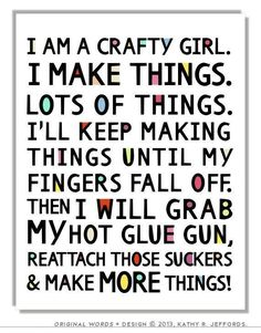 Crafty Girl Typographic Print. Craft Room Decor. Craft Room Sign. Funny Craft Studio Wall Art. Colorful Gift For Crafter. DIY Quote Poster. Daily update on my blog