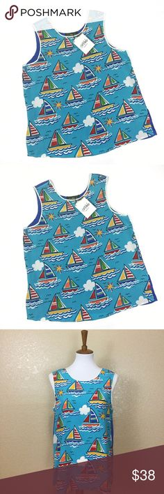 Bob Mackie Wearable Art Silk Sailboat Print Tank Bob Mackie Wearable Art Sailboat print tank/shell. Size Medium. Slightly oversized fit. New with Tags. 100% Silk. Open to offers. Bob Mackie Tops