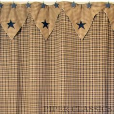 Our Vintage Star Black Shower Curtain is a great addition to any country or primitive home, a traditional homespun cloth of black and khaki check. Dry Clean for best results and to prevent shrinkage. Prim Decor, Country Decor, Primitive Decor, Country Farmhouse, Country Style, Primitive Shower Curtains, Black Shower Curtains, Country Curtains, Scrappy Quilts