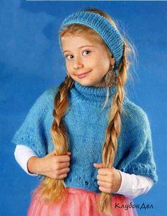 Мини-пончо и повязка на голову для девочки 6 лет