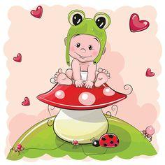 Cute Cartoon Baby in a froggy hat - ilustração de arte em vetor