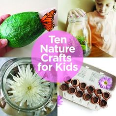 Ten Nature Crafts for Kids...A perfect way to start Spring. (One of those click though for each idea sites - but nice ideas nonetheless)