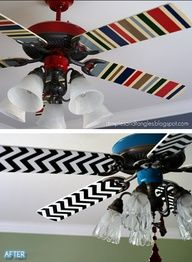 Mod Podge fabric onto the blades.  Goodbye ugly ceiling fan!  Image Source