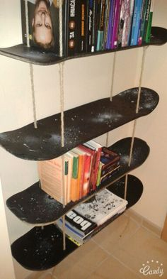 Skateboard Room shelves - the best products made with recycled skateboards