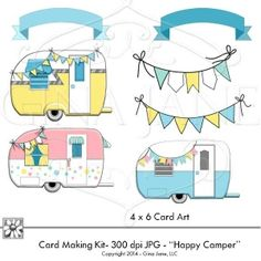 Graphics and backgrounds with printable Cards featuring adorable trailers, cute campers, Happy Camper, Happy Birthday and You Are My Sunshine Theme Cards. DAISIE COMPANY: Printable Digital Paper Crafts, Clipart, Scrapbooking, Stamp, Party - DaisieCompany.com