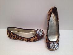 Jessica Simpson Size 6.5 Leopard Cowhide Pony Hair Rhinestone Crystal Flat #JessicaSimpson #BalletFlats
