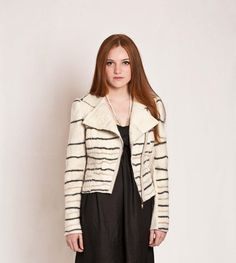 Striped felted jacket black and white biker style by texturable