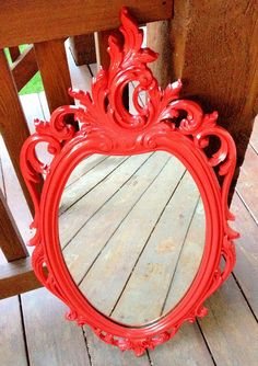 Red Ornate Mirror, Large Vintage Mirror, Classic Hollywood Regency, Upcycled Syroco on Etsy, $110.00