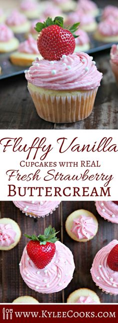 Fluffy Vanilla Cupcakes & REAL Fresh Strawberry Buttercream PLUS ENTER TO WIN A KITCHENAID MIXER!!  [AD]