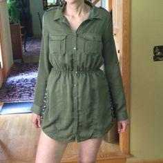 Button up military/utility style shirt dress! From BDG (urban outfitters) . Excellent condition, breathable fabric! Army green color Urban Outfitters Dresses Long Sleeve