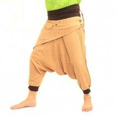 3/5 Aladdin Pants Khaki with fabric appliqué and bag