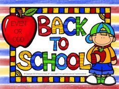 Task Cards Back to School Even or Odd