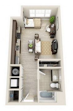 Garage 34 trendy apartment layout ideas floor plans living spaces How To Choose Locking Mailboxes lo Studio Apartment Plan, Garage Apartment Interior, Modern Small Apartment Design, Apartment Design, Small Apartment Layout, Apartment Floor Plans, Small Studio Apartment Decorating, Studio Layout, Small Apartment Design