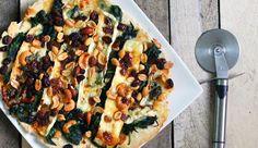 Vega: Pizza met spinazie, brie, noten en honing