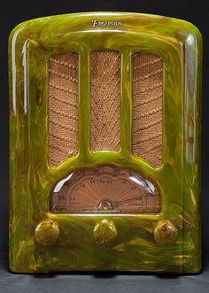 Green Marbleized Catalin 1937 Emerson AU-190 Radio. Catalin Emerson AU-190 radio from 1937 in a highly marbleized green cabinet or Brazilian Onyx as Emerson referred to it. This radio is absolutely stunning. The green Catalin cabinet is heavily marbleized with tones of green, yellow, clear and brown that add depth to an already beautiful radio.