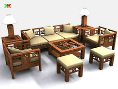 Living Room Designs India, Living Room Sofa Design, Home Room Design, Wooden Sofa Set Designs, Wood Bed Design, Diy Furniture Couch, Bedroom Furniture Design, Wood Sofa, Decoration