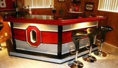Trendy home bar designs basement man cave awesome 58 ideas Ohio State Rooms, Ohio State Decor, Man Cave On A Budget, Buckeye Bars, Sports Man Cave, Bar A Vin, Man Cave Basement, Basement Kitchen, Home Bar Designs