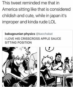 I normally sit like that but not rude af as he is lol. My Hero Academia Boku No Hero Academia, My Hero Academia Memes, Hero Academia Characters, My Hero Academia Manga, Anime Boys, M Anime, Anime Stuff, Dc Memes, Funny Memes