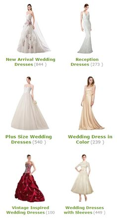 New Arrival Wedding Dresses(844 )  Reception Dresses(273 )  Plus Size Wedding Dresses(540 )  Wedding Dress in Color(239 )  Vintage Inspired Wedding Dresses(100 )  Wedding Dresses with Sleeves(449 )