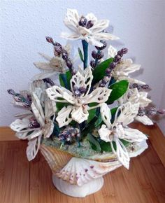 Vintage Mid Century Bouquet Of Seashell Flowers One of a Kind Handmade Shell Art