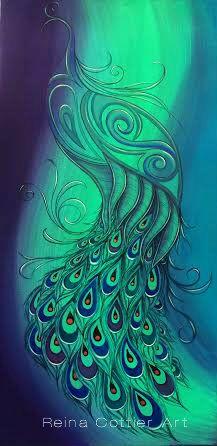Peacock Painting by Reina Cottier www.facebook.com/reinacottierart