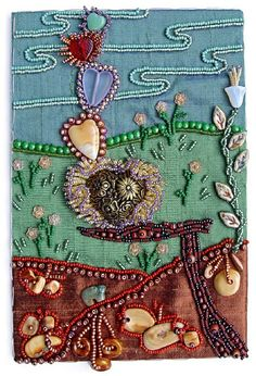 "I ❤ crazy quilting, beading & embroidery . . . Hearts in Delicate Balance ~Bead Journal Project for Oct., 2008 Bead embroidery on three fabrics. When I started this piece, it was all about three fabrics that appealed to me. As I began to bead, I seemed to be making a ""fence post"" of sorts. When I put a heart on the cross-rail of the post, it looked like it could tip over, and I began to think about what a balancing act love & marriage can be sometimes. ~By Robin Atkins"
