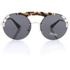 209ca7f9a04e Prada Tortoiseshell Aviator Sunglasses (€365) ❤ liked on Polyvore featuring  accessories