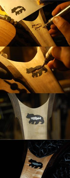 The client who commissioned this Cat's Paw Burl Maple & Wenge net, has a cabin in Montana. He named it Bearfish, and made up this logo of a Grizzly with a large brown in it. I carved each into the handle and filled with black stone & Aluminum.