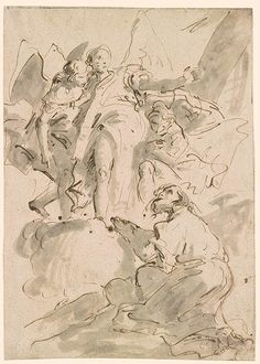 Giovanni Battista Tiepolo Three Angels Appearing to a Monk (Abraham and the Angels? Life Drawing, Drawing Sketches, Art Drawings, Rococo Painting, Kneeling In Prayer, Angel Drawing, Figure Sketching, Famous Art, Old Master