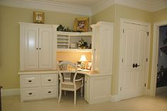 built in desk and bookcase with doors-