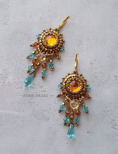 Beaded Earrings DIY Kit, Beading Pattern and Material, Bead Embroidery Tutorial with Swarovski, Dangle Earrings for Women, Topaz Dreams - Gold Bar Earrings, Pearl Stud Earrings, Sterling Silver Earrings Studs, Crystal Earrings, Women's Earrings, Chandelier Earrings, Gothic Jewelry, Beaded Jewelry, Handmade Jewelry