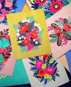 Floral paintings by Jess Phoenix