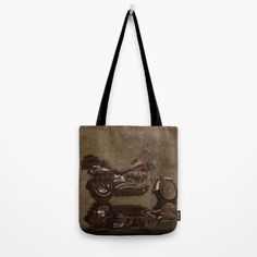 """The Big HD Motorbike Art -   Our quality crafted Tote Bags are hand sewn in America using durable, yet lightweight, poly poplin fabric. All seams and stress points are double stitched for durability. Available in 13"""" x 13"""", 16"""" x 16"""" and 18"""" x 18"""" variations, the tote bags are washable, feature original artwork on both sides and a sturdy 1"""" wide cotton webbing strap. https://society6.com/product/the-big-hd-rustic-grunge-art-print-0t7_bag?curator=skyeryanevans"""