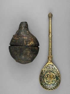 Travelling spoon and case. Silver-gilt enamel and leather. Probably Flemish, 15th century.