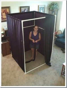Wonder how portable this would be, outdoor changing room for swiming. PVC camping gear - outdoor shower, camping bathroom, change room (for indoor events too! Camping Survival, Camping Gear, Camping Hacks, Camping Items, Camping Activities, Hiking Gear, Camping Glamping, Camping Life, Outdoor Fun