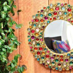 DIY Bejeweled Boho Cardboard Mirror!! How gorgeous!