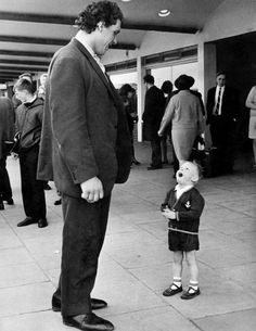 Little boy meets André the Giant, 1970s.