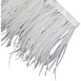 Neotrims Luxurious High Fashion Real Ostrich Feather Quality Fur Satin Ribbon Trimming Fringe 10-12 cm. Five Stunning Colours: Natural Cream, Black, Red White, Black White and Grey White.