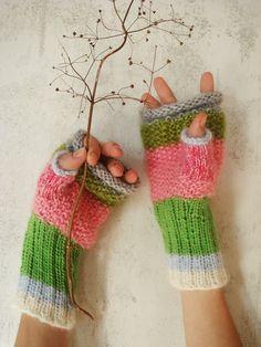 knit fingerless mittens - fingerless gloves - arm warmers WATERMELON RAINBOW WANT THESE!!!!