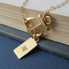 Personalized Sideways Anchor Necklace, Gold Fill Chain, Friendship, Sister, Lovely Gift, Gold Jewelry, Gold Anchor Necklace $28.00