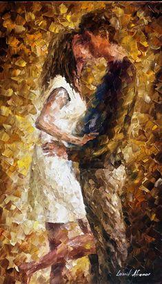 """Primer beso: espátula aplique moderno Art Deco, óleo sobre lienzo por Leonid Afremov - tamaño: 20 """"x 30"""" (50 cm x 75 cm)"""