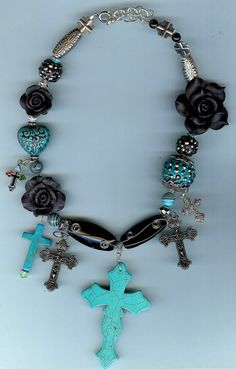 Turquoise Black Cowgirl Western Jewelry Necklace Pave by ccountess, $60.00