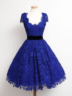 Tidetell.com A-line Scoop Knee Length Lace Homecoming Dresses Sash Royal Blue Cap Sleeves, homecoming dresses, juniors