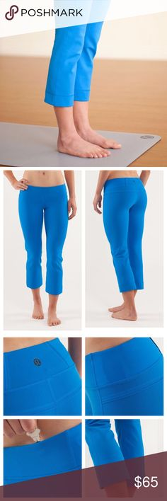 {LULULEMON} Power Up Beaming Blue Crops Lululemon Power Up crops in Beaming Blue size 6. Only worn a few times and in excellent like new condition. lululemon athletica Pants Ankle & Cropped